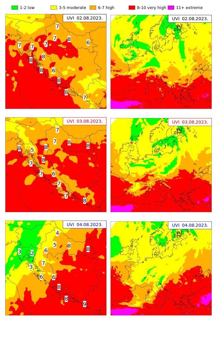 Croatia and Europe UV index forecast